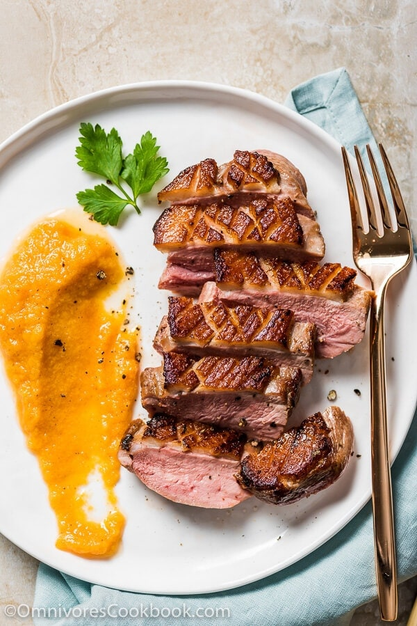 Pan Seared Duck Breast with Persimmon Grapefruit Sauce - With this combination you can create a luxurious fine dining experience in just 30 minutes | omnivorescookbook.com