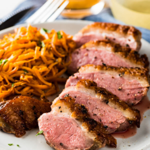 Pan Seared Duck Breast with Persimmon Grapefruit Sauce - With this combination you can create a luxurious fine dining experience in just 30 minutes   omnivorescookbook.com