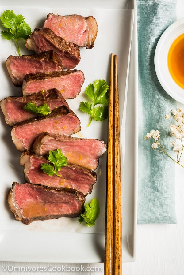 Sous Vide Steak Sashimi with Ponzu Dressing - Sous vide steak yields perfect results every single time. This post introduces the easiest approach, in which the steak is cooked in the oven without special equipment. | omnivorescookbook.com