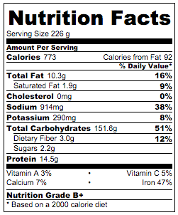 Soy Sauce Fried Rice Nutrition Facts | omnivorescookbook.com