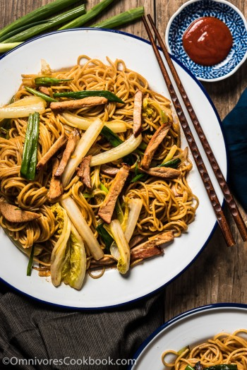 Char Siu Pork Lo Mein uses plenty of fresh herbs and a rich sauce to bring you the best lo mein in 20 minutes. It's even faster than takeout! | omnivorescookbook.com