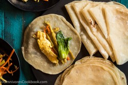 Mom's best duck pancakes (春饼, mandarin pancakes) - Learn the secrets to cooking paper-thin duck pancakes that are moist, light, and tender!   omnivorescookbook.com