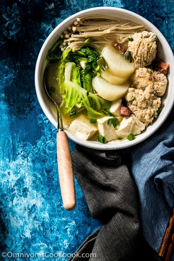 Napa Cabbage Soup with Tofu and Meatballs - Learn to cook the heartiest soup, plus two tips on how to quickly create a rich broth with just a few ingredients!   omnivorescookbook.com