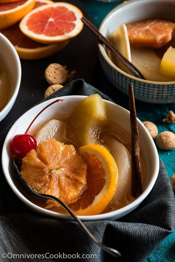 Oolong Fruit Compote - It combines Eastern and Western elements to create this perfect dessert that will be enjoyed by people from both sides of the world!   omnivorescookbook.com