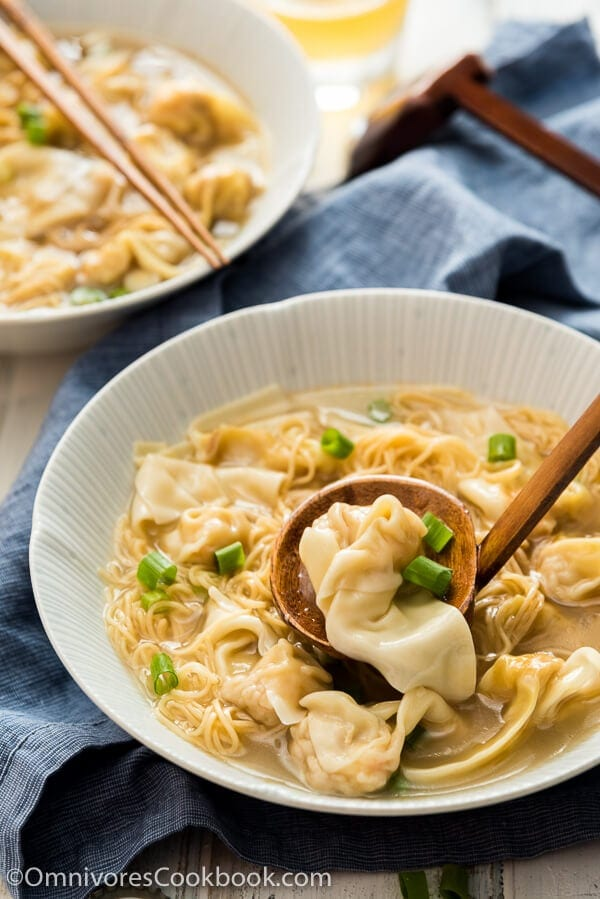 Cantonese Wonton Noodle Soup (港式云吞面) Recipe + Video - You can make a hearty bowl of wonton noodle soup at home, and it'll be even better than in a Chinese restaurant!