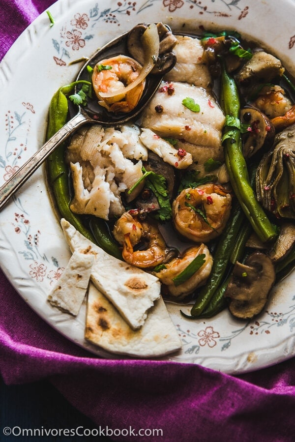 Mushroom Seafood Stew - Packed with lean protein and vegetables. It's a hearty weekday meal that you can cook and prep in under 30 minutes!   omnivorescookbook.com