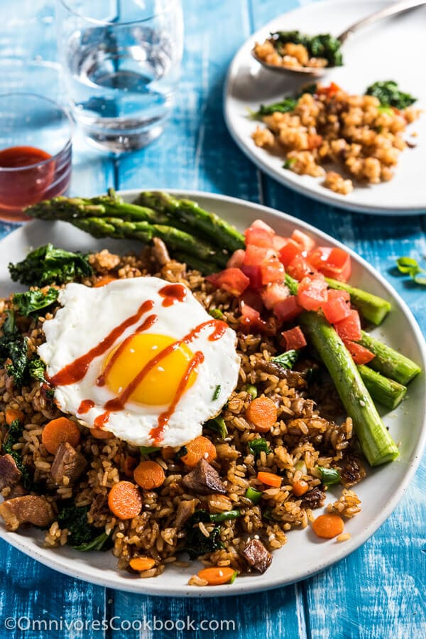 Peking duck fried rice tastes way better than takeout. Let me tell you a secret - you don't need duck meat or a wok to cook this. | omnivorescookbook.com