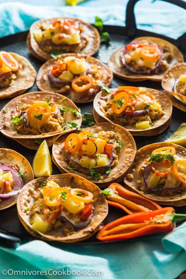 Turn your leftover dumpling wrappers into fruity, creamy, and crispy mini tuna pizzas in 15 minutes!