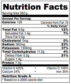 Garlic Spinach in Chicken Broth Nutrition Facts