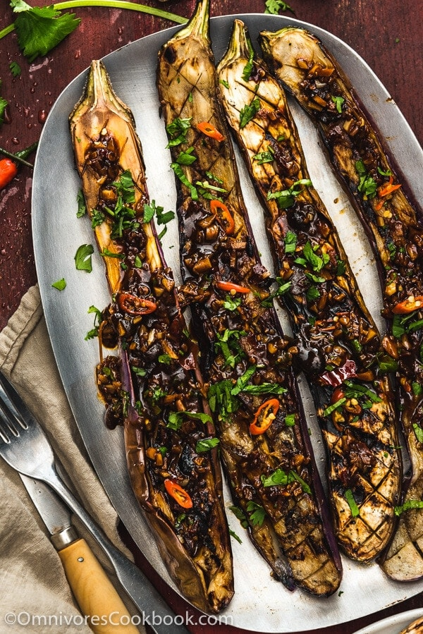 grilled eggplant recipes grilled eggplant with yu xiang sauce 鱼香烤茄子 omnivore s 30259