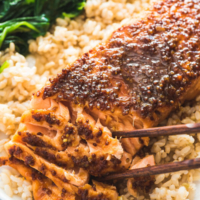 Honey Soy Sauce Glazed Salmon - An easy recipe that needs just 5 minutes of prep and 10 minutes in the oven. The salmon will turn out rich, moist, and buttery.