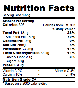 Coconut Waffles Nutrition Facts