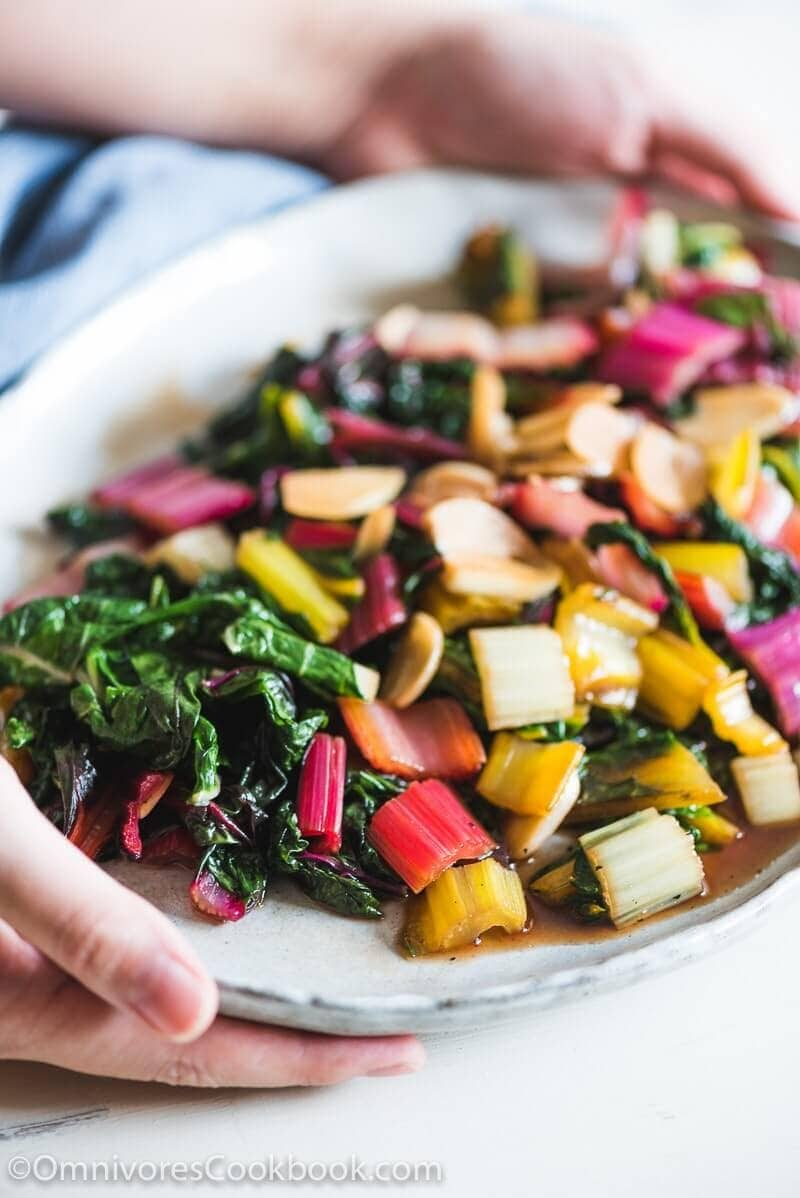 Easy Swiss Chard Stir Fry - A delicious side dish that needs three ingredients and five minutes to cook. A great way to add vegetables to a weeknight's dinner.