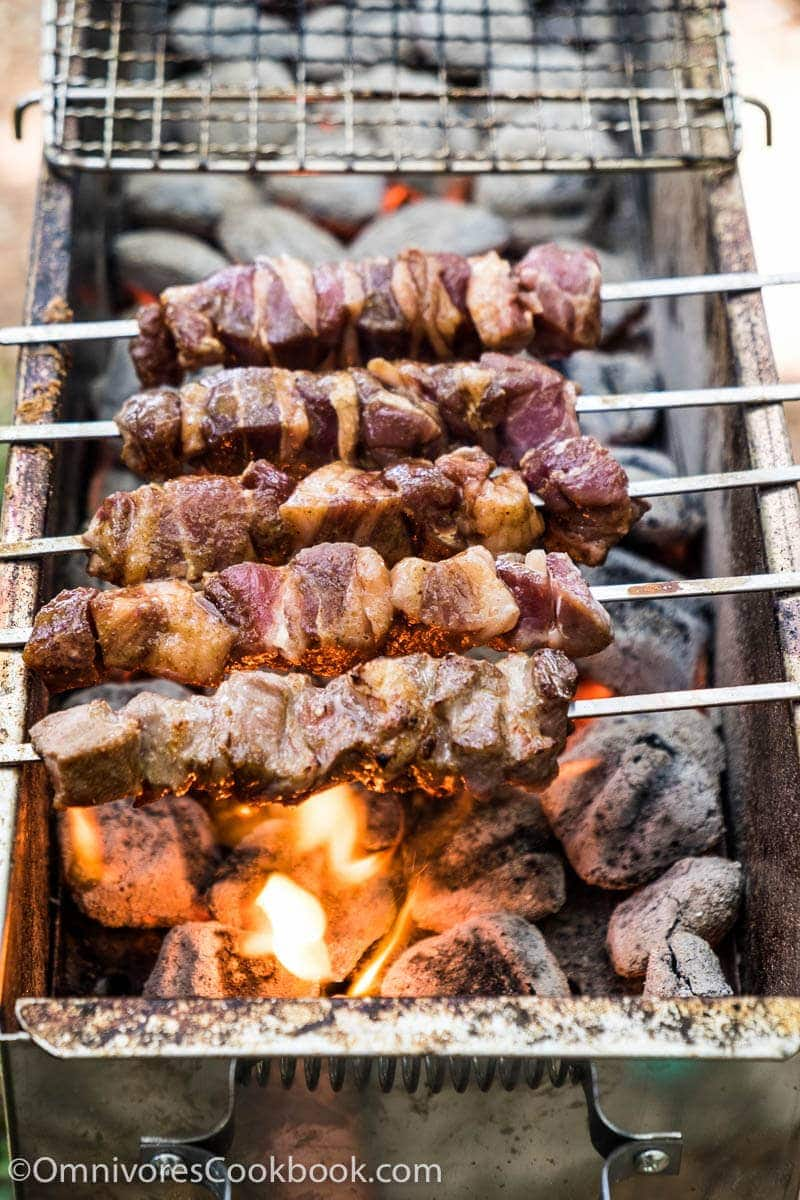 Xinjiang Lamb Skewer (新疆烤串, chuar) - The real-deal recipe that helps you cook exactly the way Chinese street vendors do. Learn the best practices of choosing cuts, making the marinade, and grilling over charcoal.