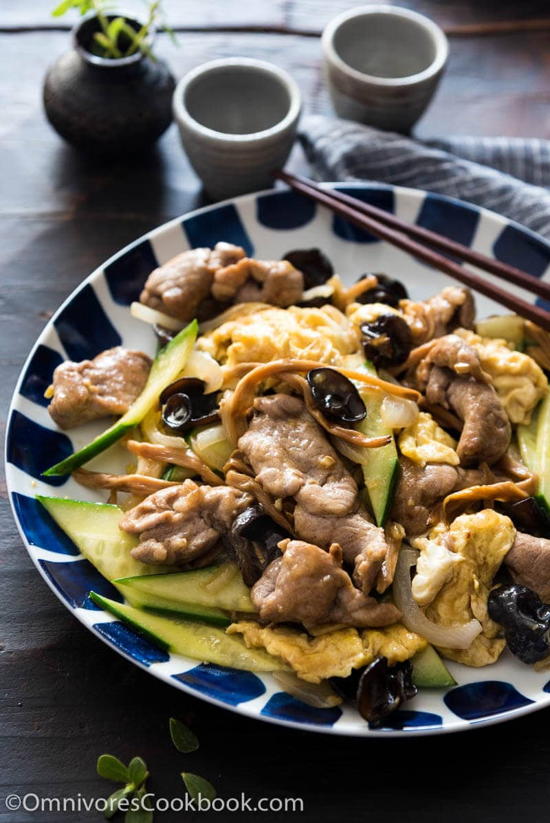 The tender pork, crisp vegetables, crunchy mushrooms, and creamy eggs are brought together by a simple chicken-stock-based sauce, creating a simple and earthy stir fry with great texture and nutrition.