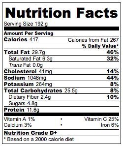 Bacon Pan Fried Noodles Nutrition Facts