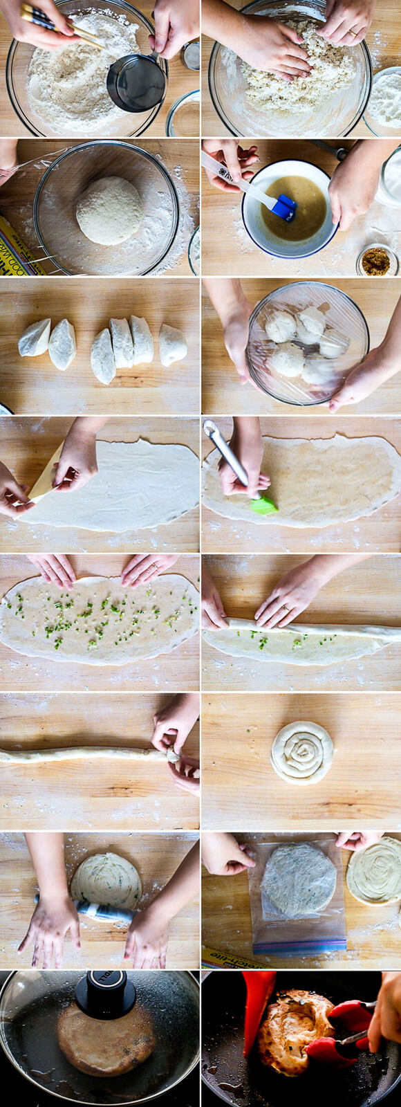 Chinese Scallion Pancakes Cooking Process