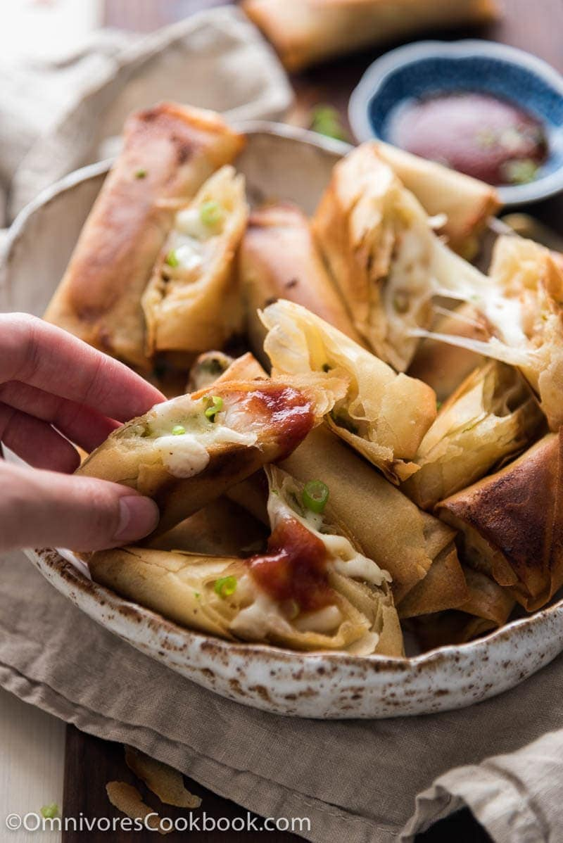 This recipe does not require you to deep fry, pre-cook the filling, and is so easy to get ready.