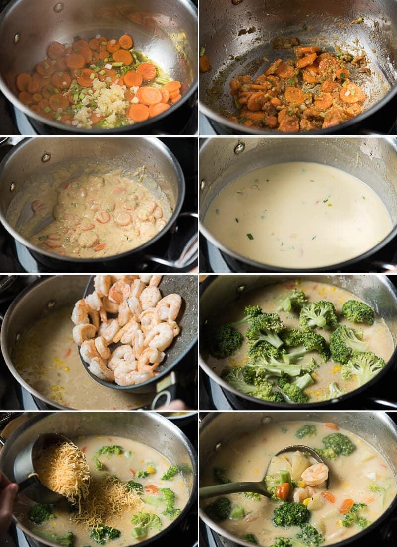 Asian-Style Potato Chowder Cooking Process