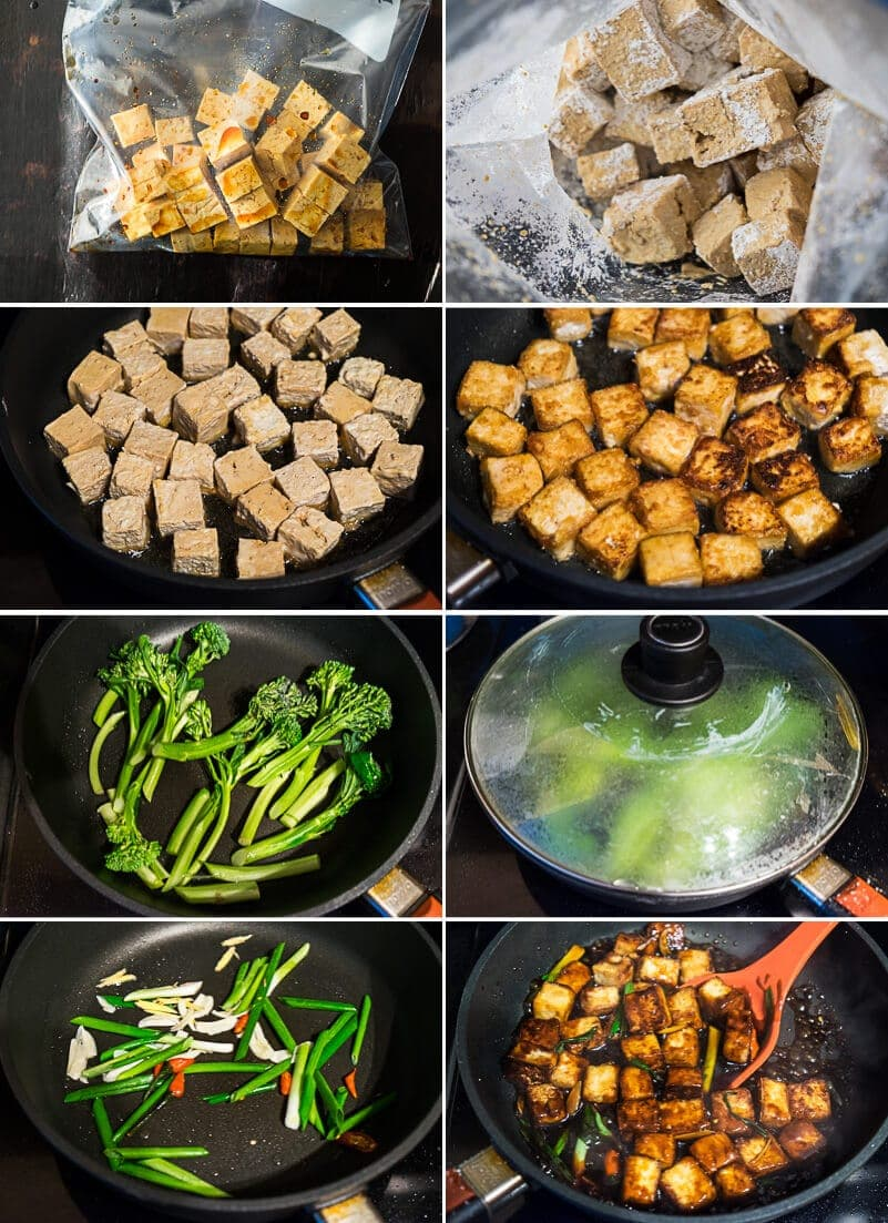 General Tso Tofu Cooking Process
