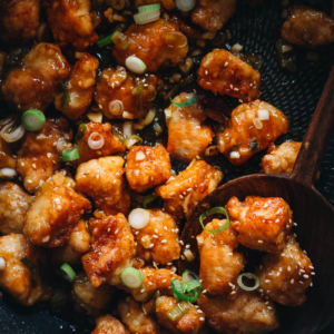 Orange chicken close up