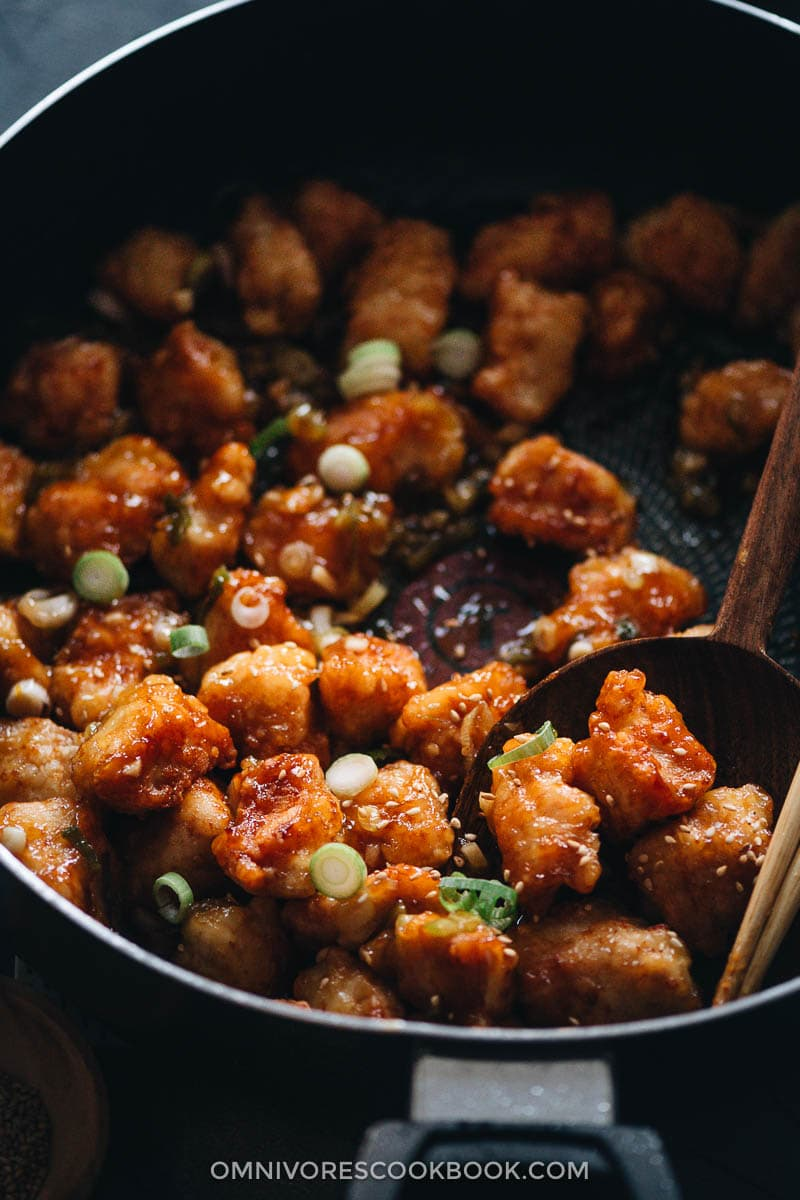 Orange chicken in pan