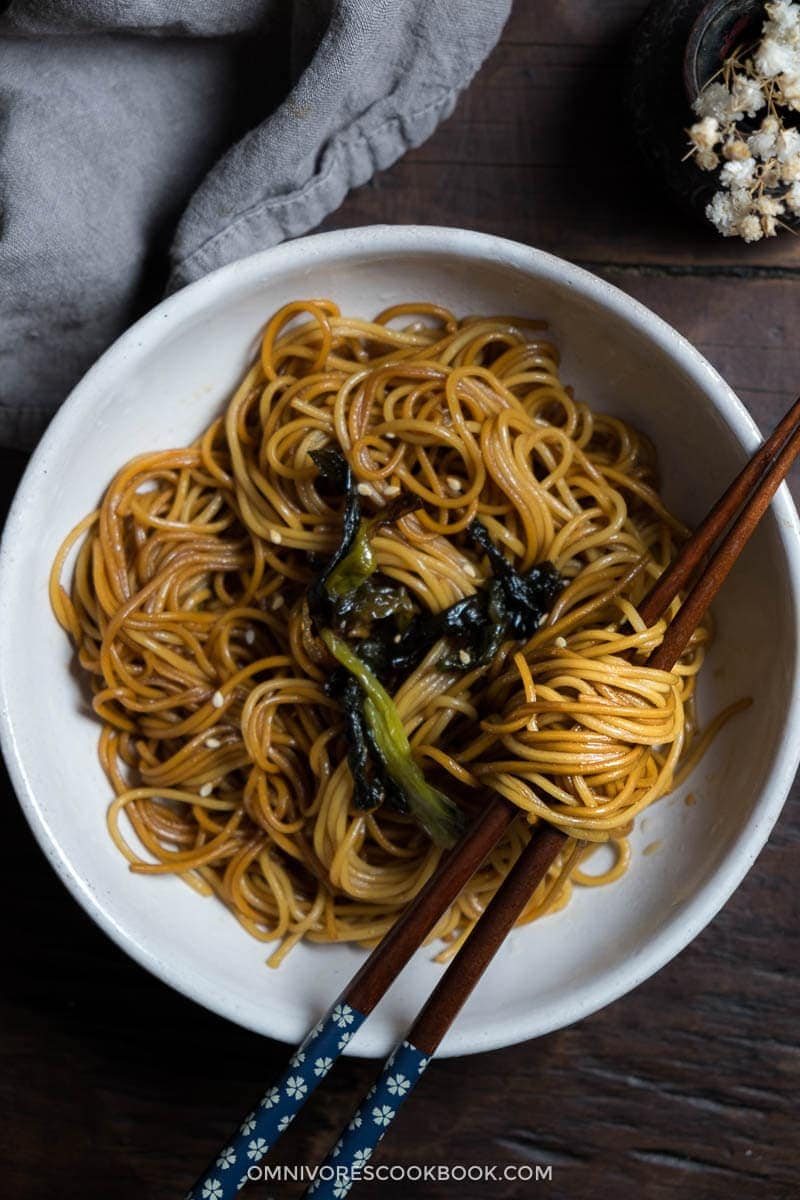 With a few drops of fragrant scallion oil, soy sauce, and fried green onions, you'll have a bowl of super flavorful noodles ready in a few minutes.