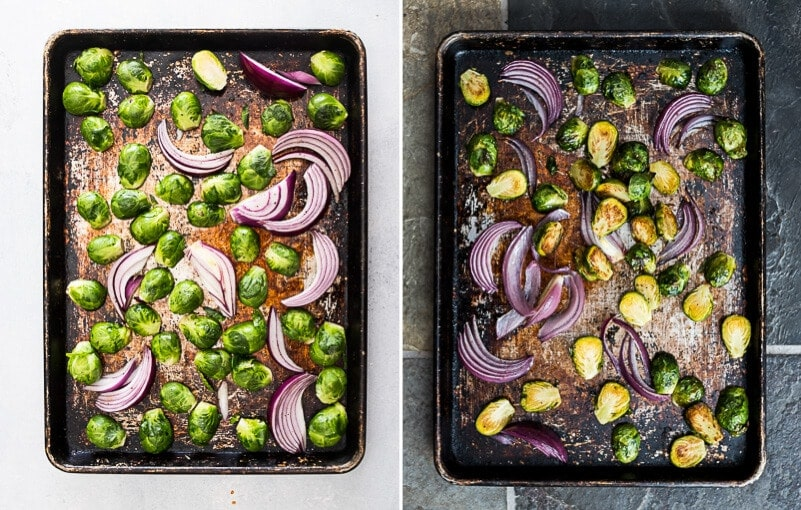 Roasted Kung Pao Brussels Sprouts Cooking Process