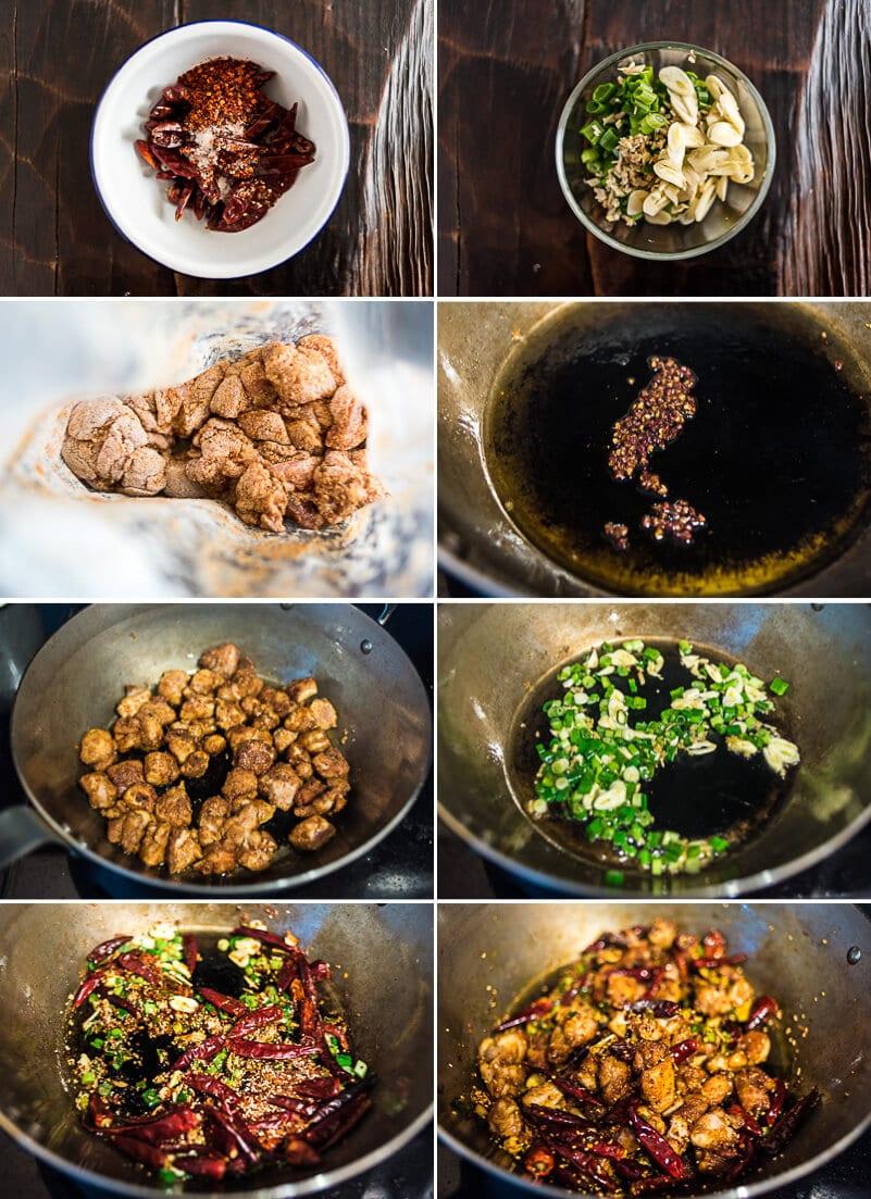 Sichuan Mala Chicken Cooking Process
