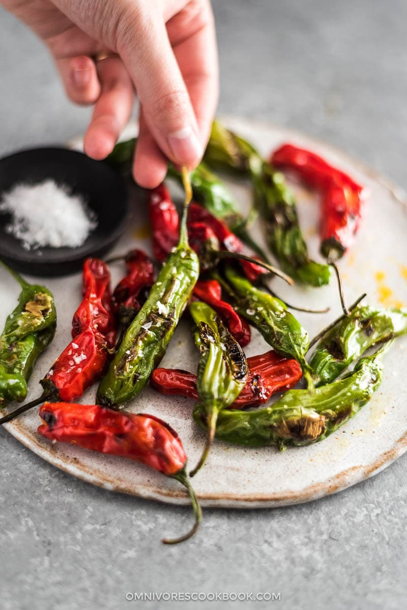 Create perfectly charred, blistered shishito peppers without a broiler, grill, or a long preheat {vegan, gluten free}