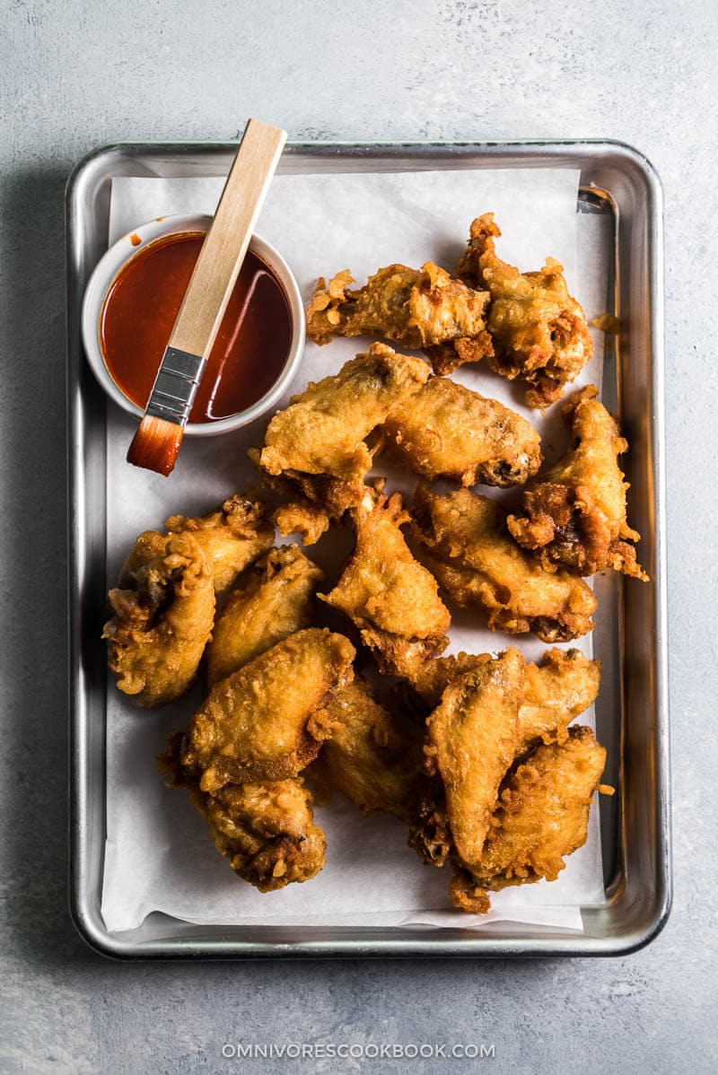 Fried Chicken Wings in Asian Hot Sauce (Crispy Even When Chilled!) | Gluten Free | Game Day | Party | Appetizer