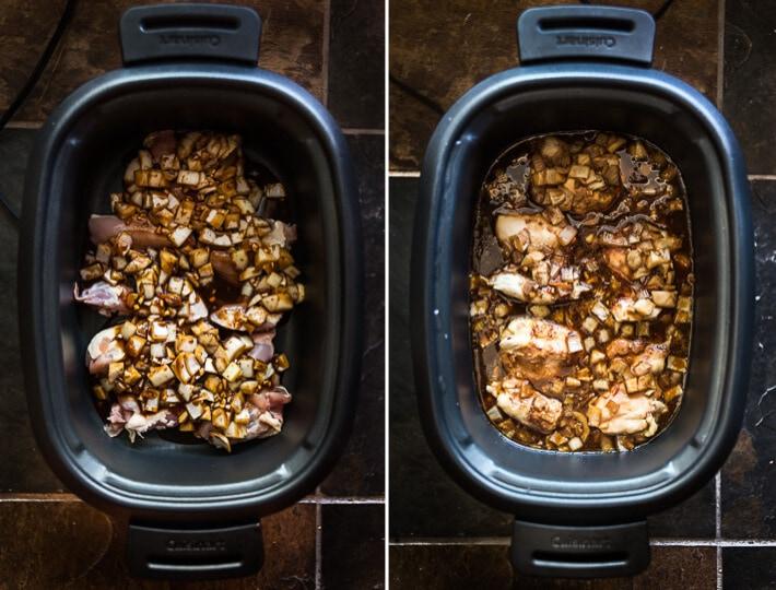 Slow Cooker Honey Garlic Chicken Sliders Cooking Process