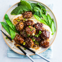 Learn how to make these extra tender Asian turkey meatballs with one secret ingredient! Gluten free adaptable | Paleo friendly | Low Carb | Chinese Food | Party