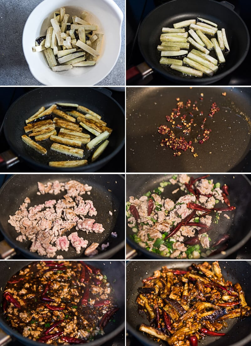 Sichuan Eggplant Stir Fry Cooking Process