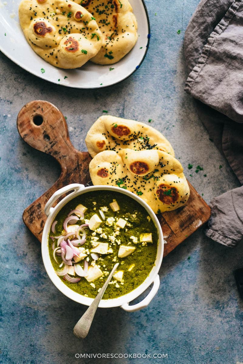 Palak Paneer Recipe Spinach Curry With Cheese Cooking In An Indian Kitchen Omnivore S Cookbook
