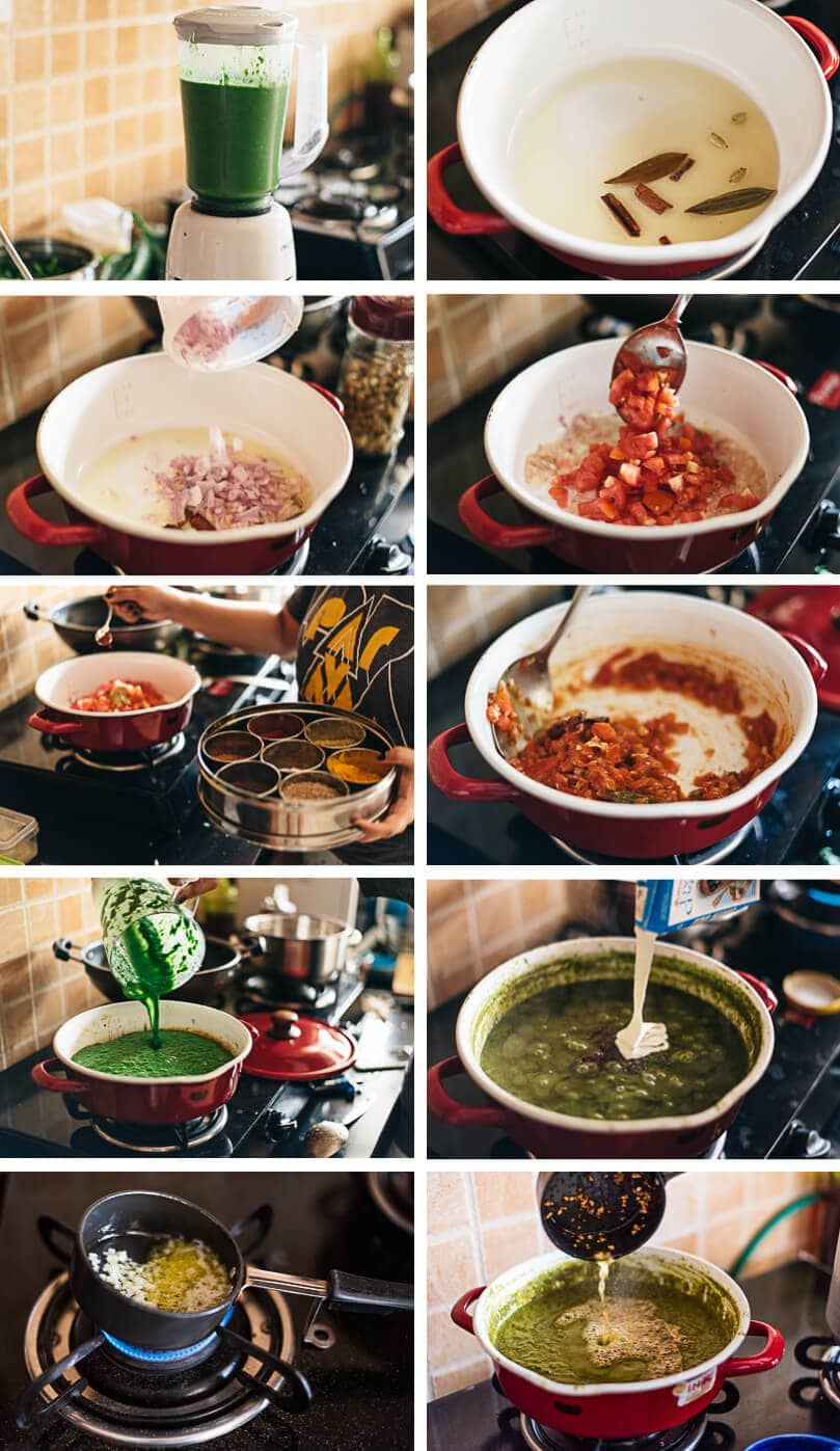 Palak Paneer (Spinach Curry with Cheese) Cooking Process
