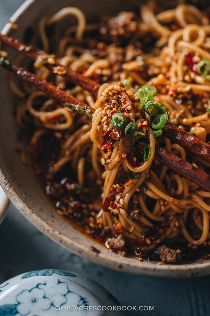 Noodle coated with sauce close-up