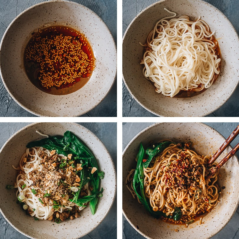 How to assemble dan dan noodles step-by-step
