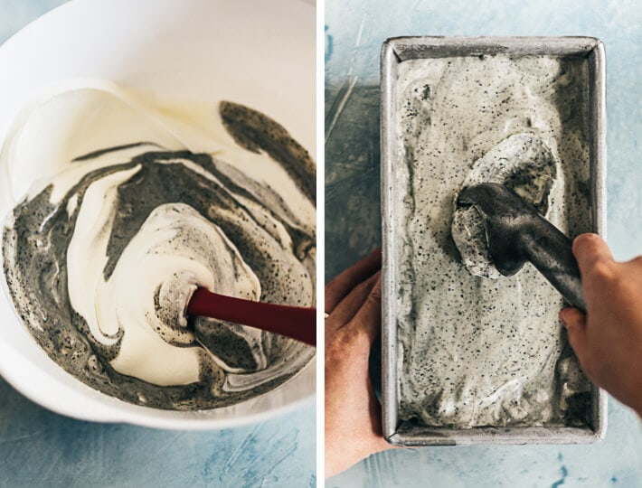 4-Ingredient No-Churn Black Sesame Ice Cream Cooking Process
