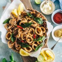 Salt and Pepper Squid | Calamari | Deep Fried | Asian | Chinese | Seafood | Appetizer | Restaurant Style | Basil | Recipe