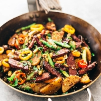 Kung Pao Pastrami (A Mission Chinese Recipe) | beef | Chinese food | recipe | Szechuan | Sichuan | spicy | hot | stir fry | main | takeout | restaurant | vegetables |