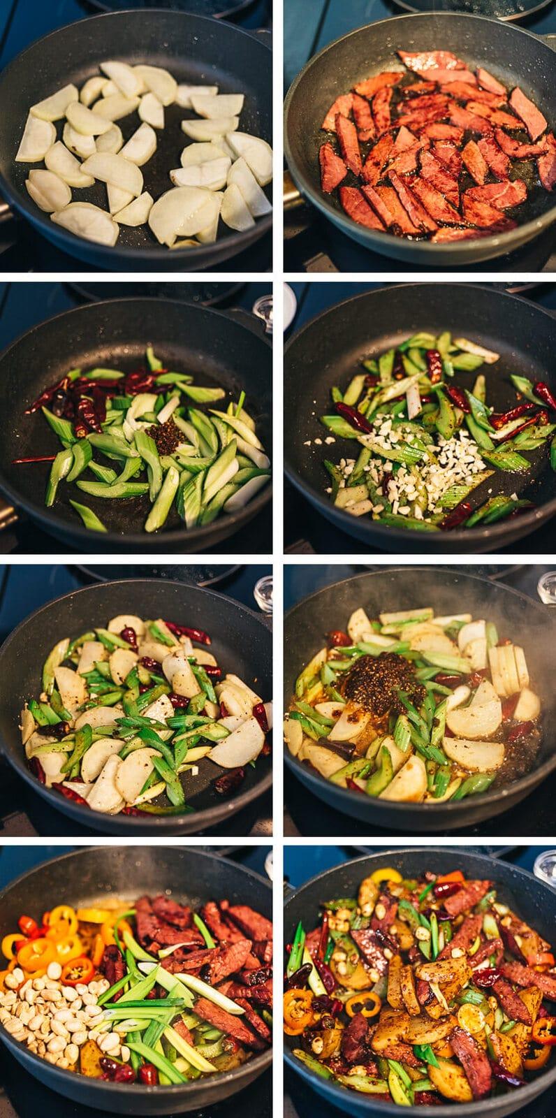 Kung Pao Pastrami Cooking Process