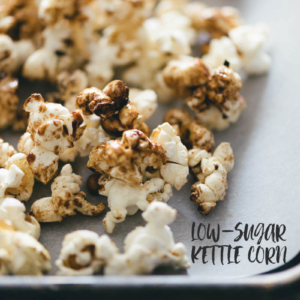 Low-Sugar Kettle Corn (That Tastes Better Than Caramel Corn) | snack | recipes | sweet | gluten free | vegan | vegetarian | homemade | movies | how to make | popcorn | stovetop | healthy |