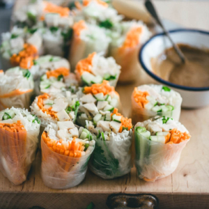 Chicken Spring Rolls with Peanut Sauce | Rice Paper Rolls | Summer Rolls | Gluten Free | Asian | Chinese | Dip | Sauce | Vegetables | Healthy | Recipe | Easy |