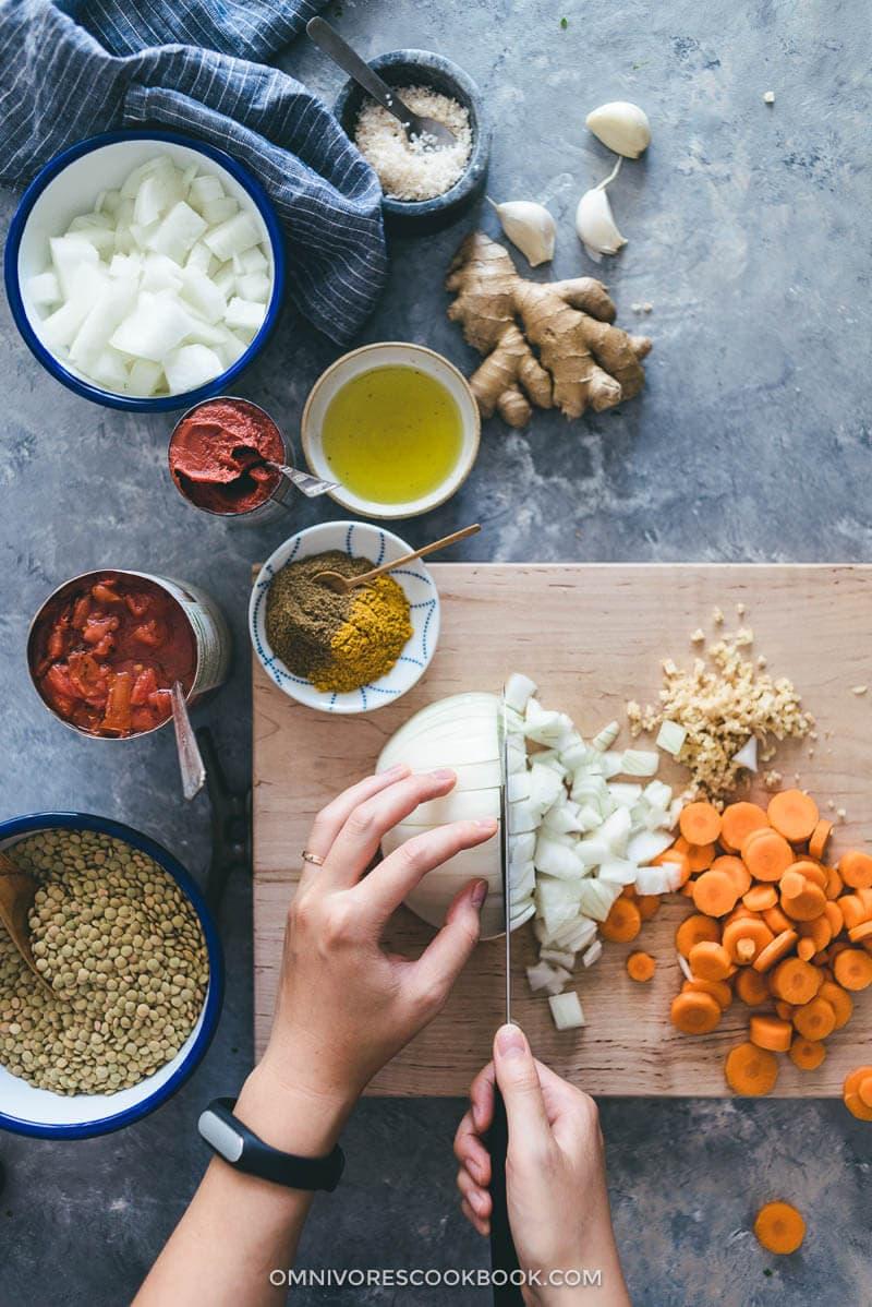Easy Vegetarian Lentil Stew Cooking Process