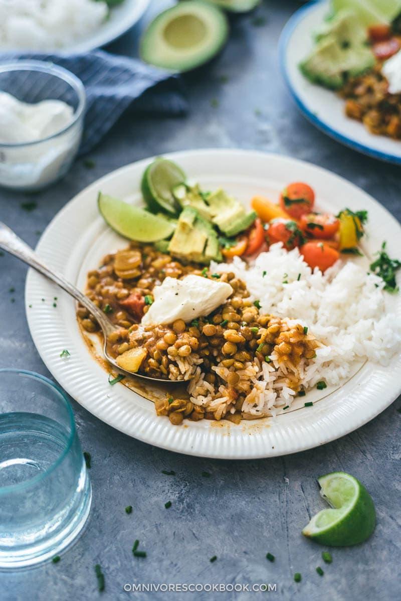 Easy Vegetarian Lentil Stew | recipes | gluten-free | vegan | curry | side dish | main dish |