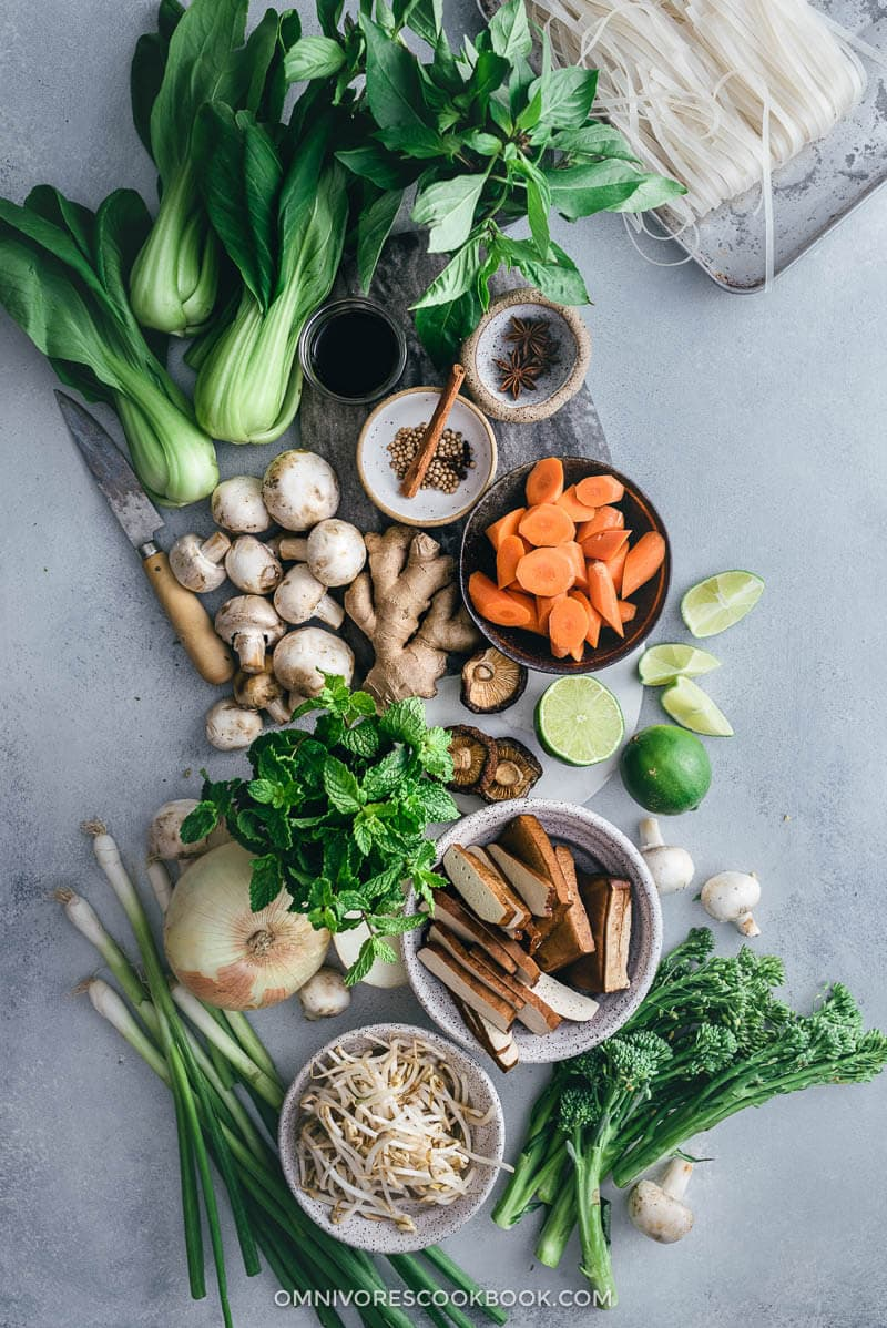 Vegetarian Pho Noodle Soup Ingredients