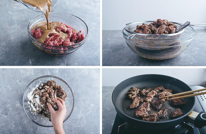 Korean Beef Bulgogi Bowl Cooking Process