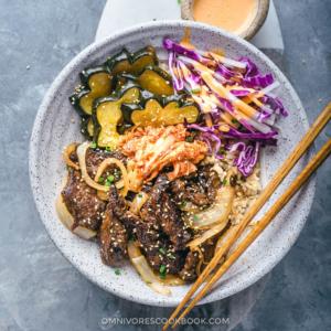 Korean Beef Bulgogi Bowl (Perfect for Meal-Prep) | Steak | Recipe | Fall | Acorn Squash | Coleslaw | Asian