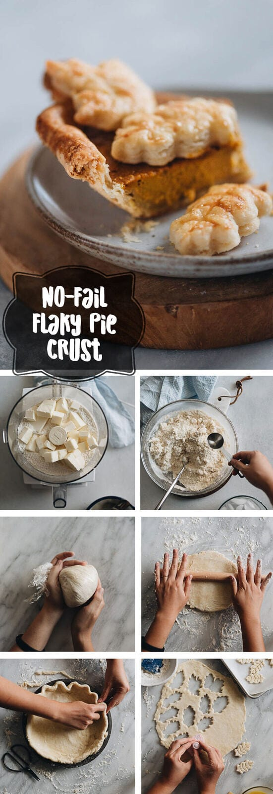 Easy Pie Crust (with Food Processor) - This easy no-fail pie crust is made with a food processor and allows you to create an extra flaky crispy pie crust every single time!